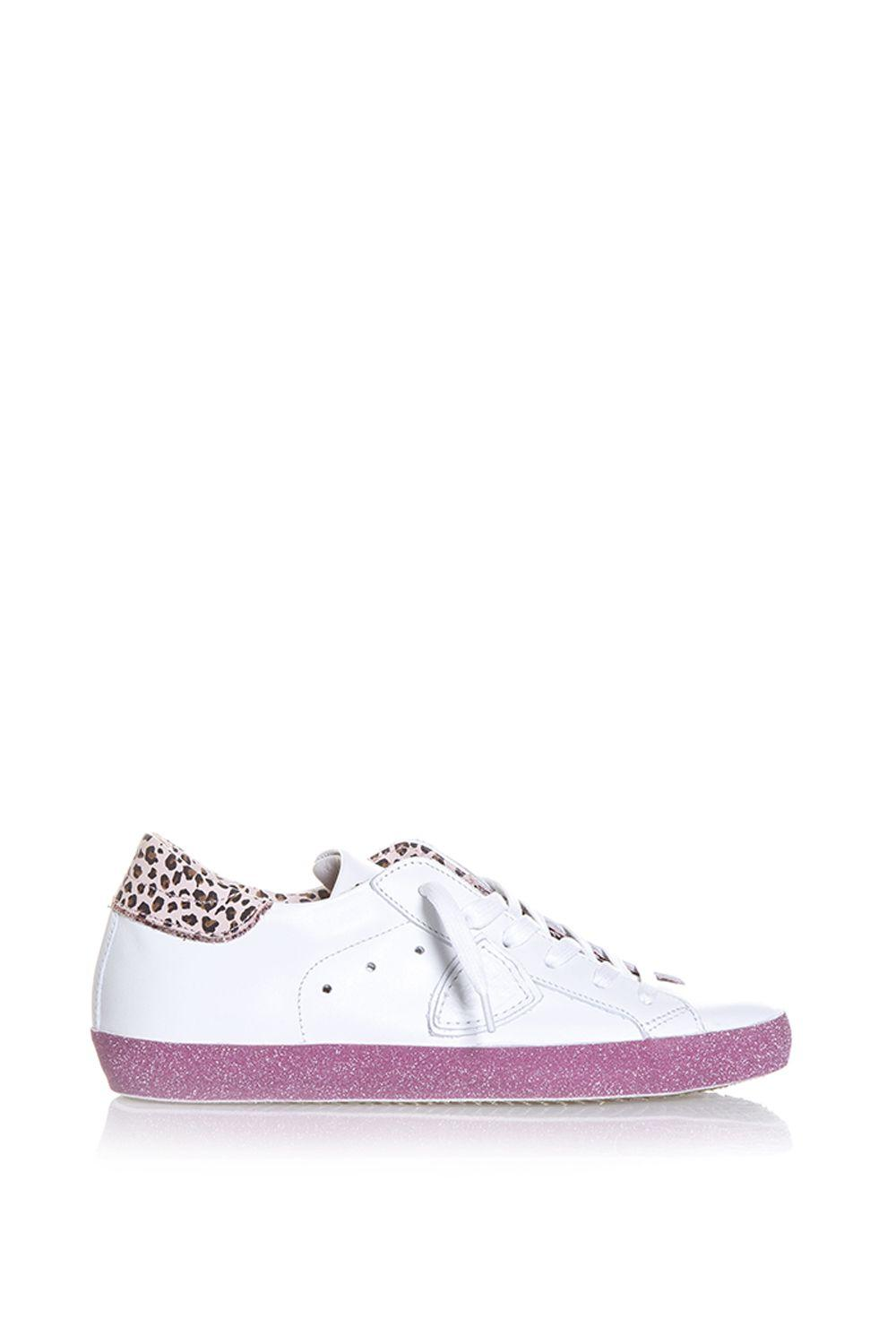 Philippe Model Glitter Sneakers In White/pink