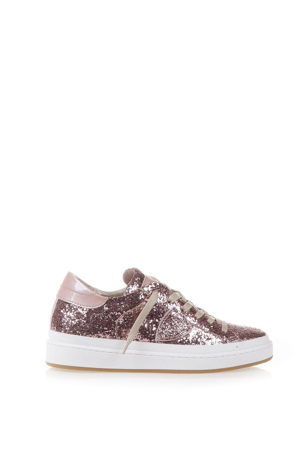 Philippe Model Opera Glitter Leather Sneakers In Pink