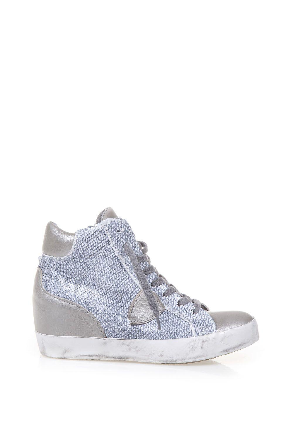 Philippe Model Squined Fabric & Leather Sneakers In Grey-silver