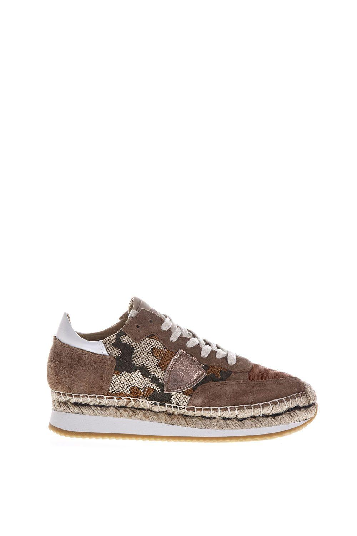 Philippe Model Saint Tropez Suede & Jacquard Sneakers In Brown