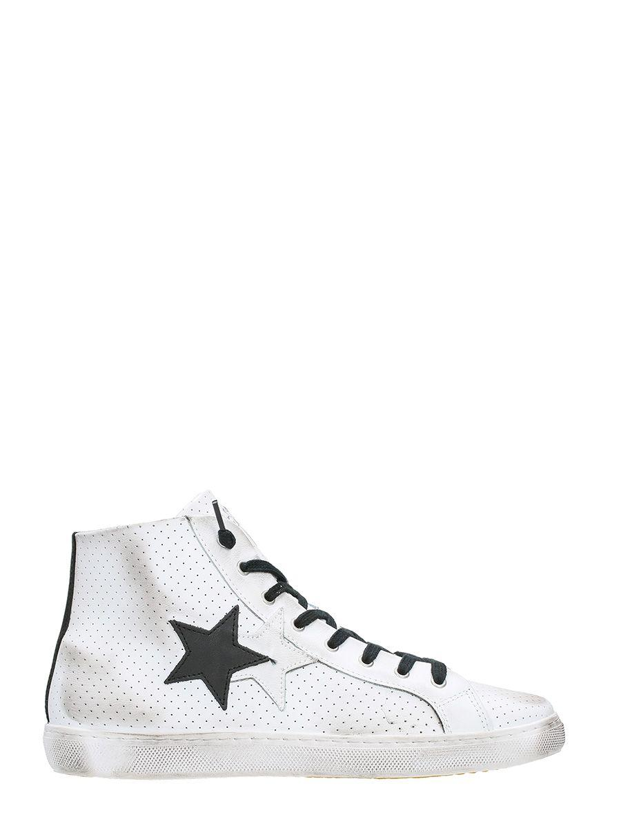 2star White Perforated Leather Sneakers