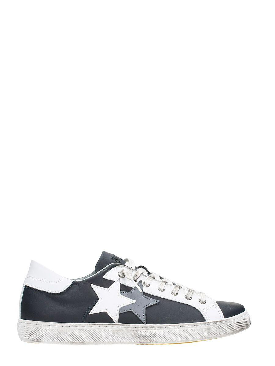 2star Low Star Black Leather Sneakers In Blue