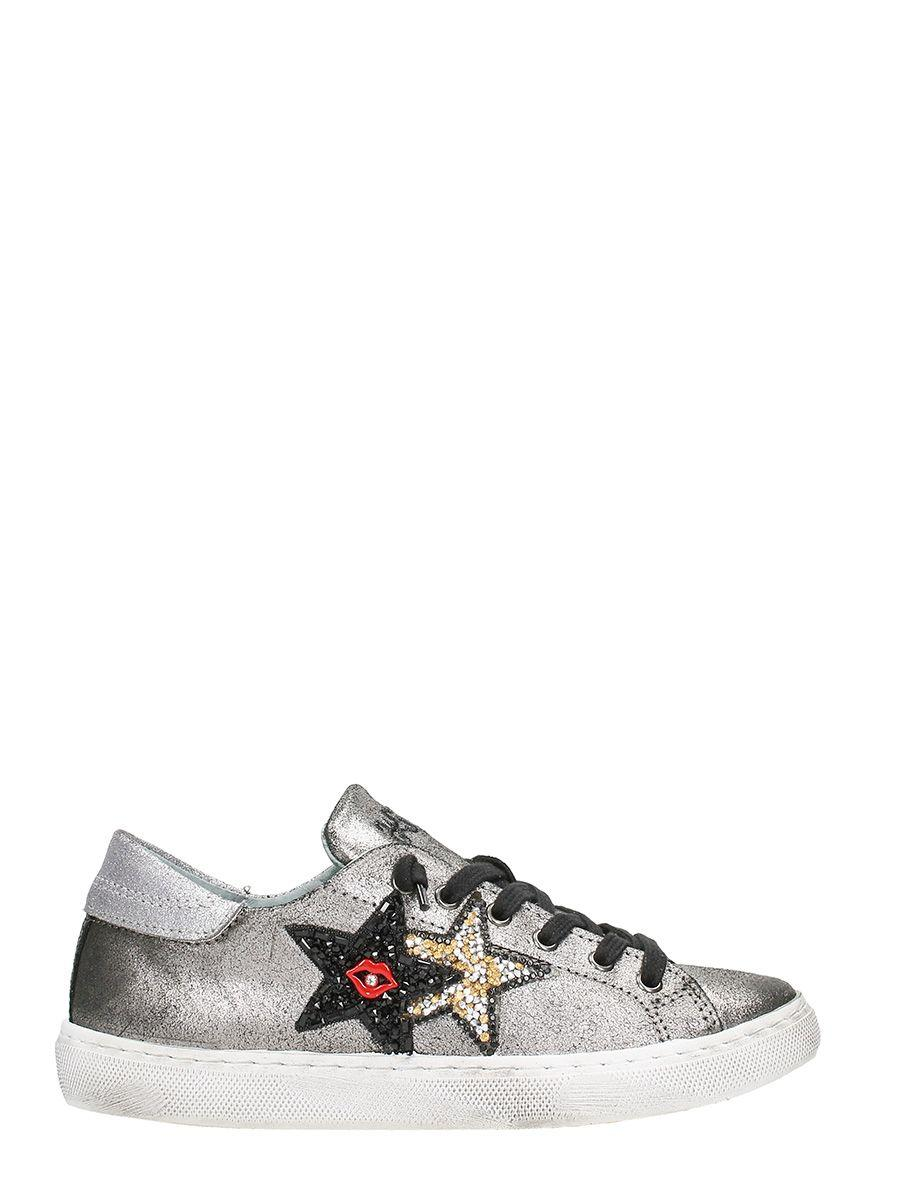 2star Red Lips Silver Leather Low Sneakers