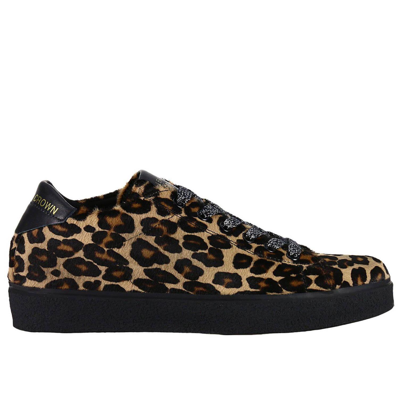 Leather Crown Sneakers Shoes Women  In Beige
