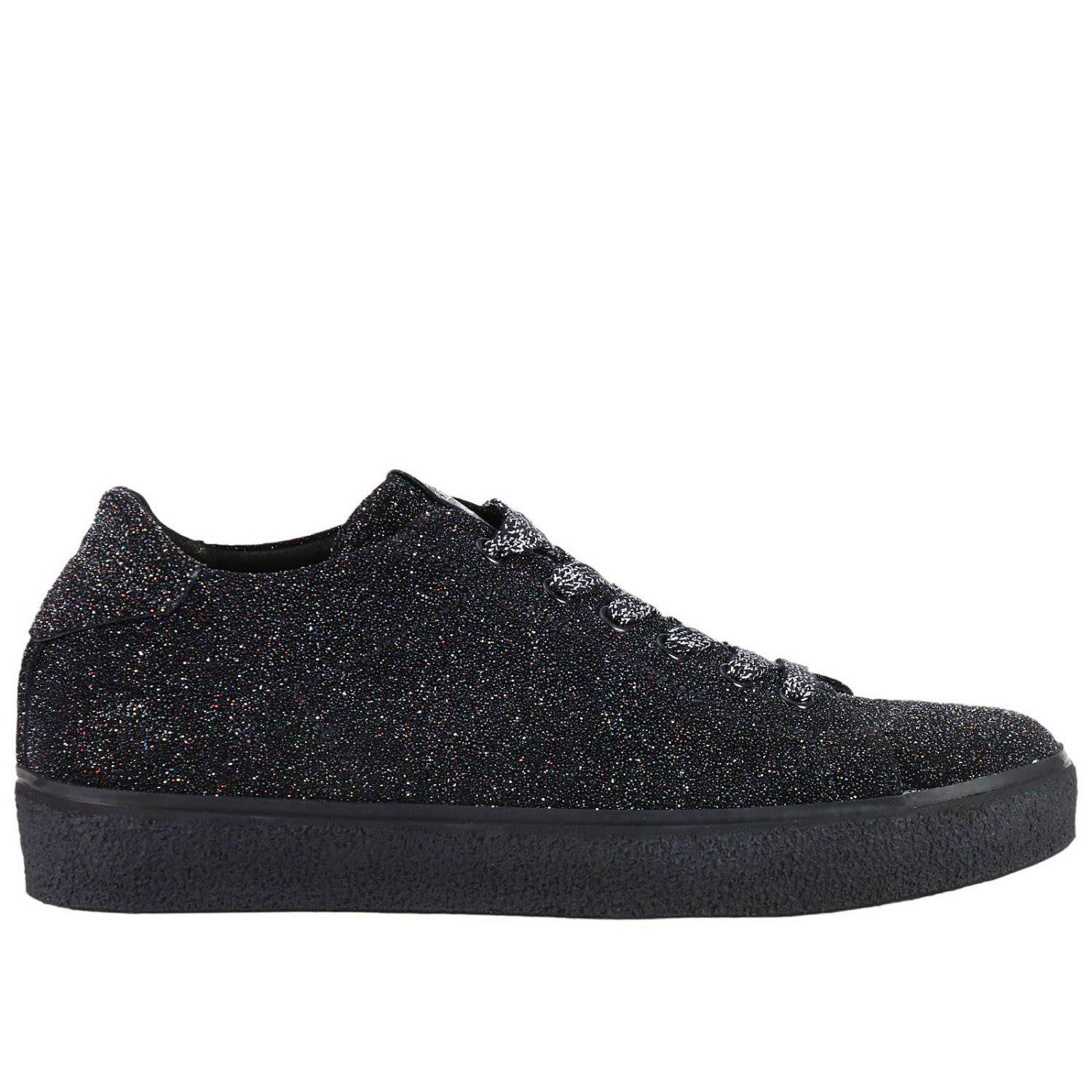 Leather Crown Sneakers Shoes Women  In Black