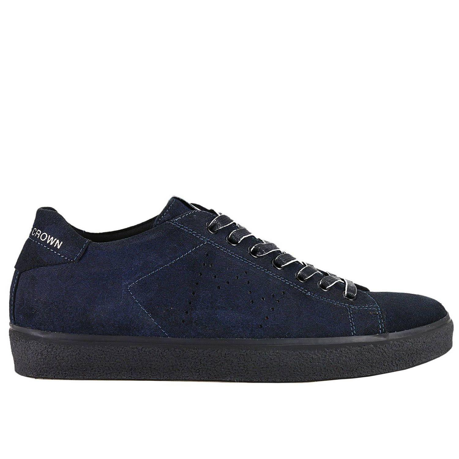 Leather Crown Sneakers Shoes Men  In Blue