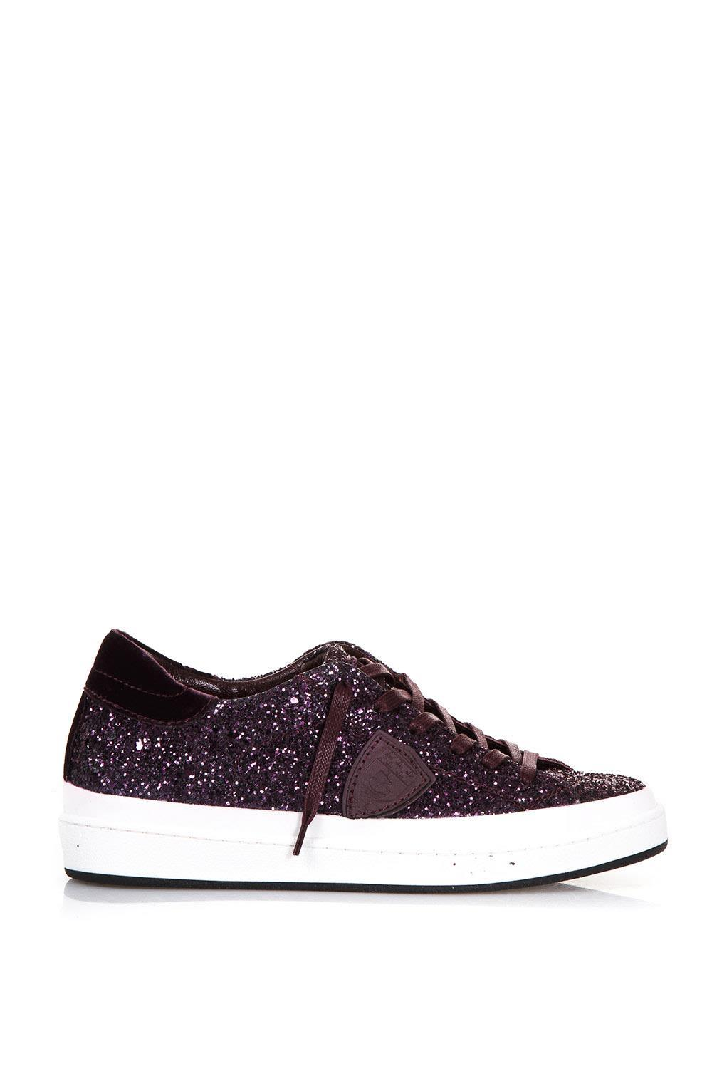 Philippe Model Glittered Leather Low-top Sneakers In Cyclamen