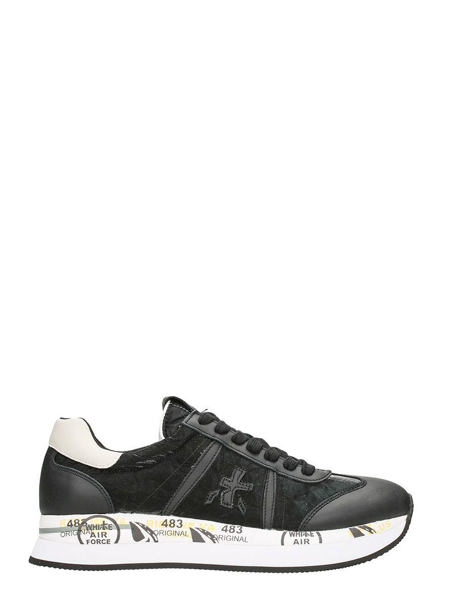 Premiata Conny In Black Suede And Leather Sneakers