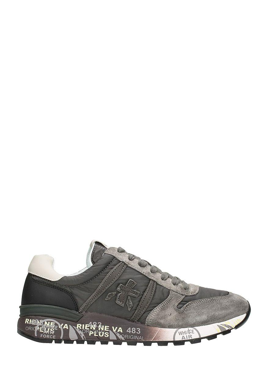 Premiata Lander In Grey Suede And Fabric Sneakers