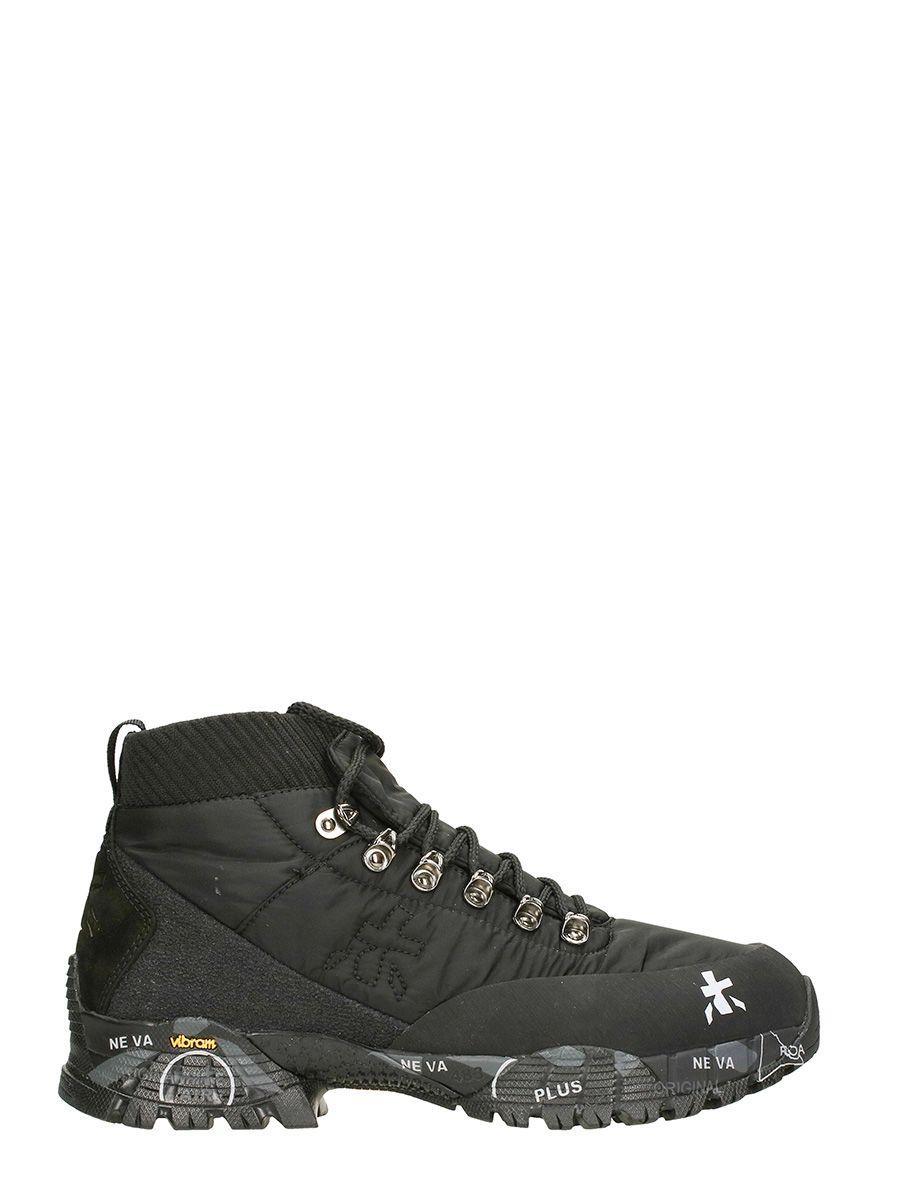 Premiata Loutreck Hi Black Fabric Sneakers