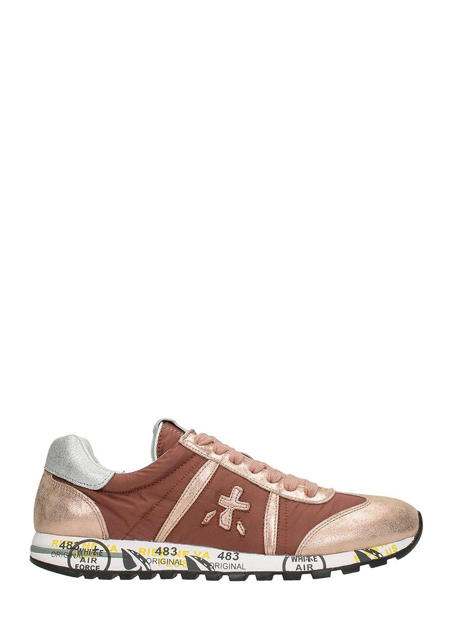 Premiata Lucy Leather And Fabric Sneakers In Rose-pink