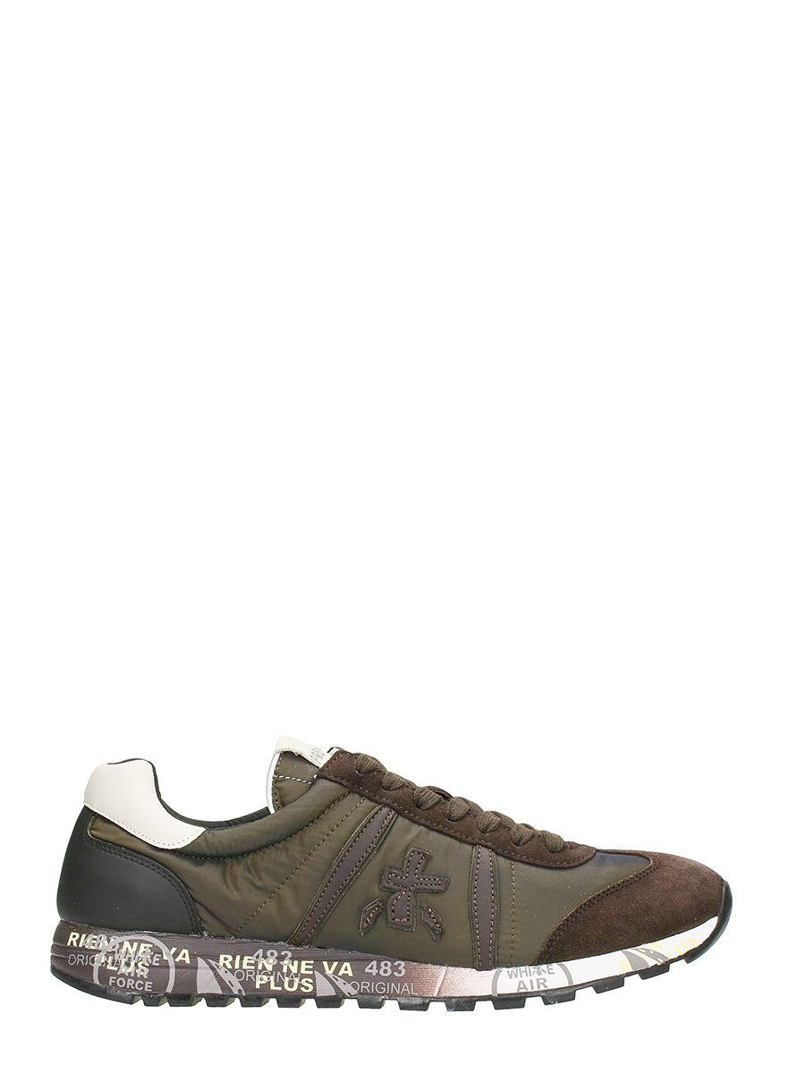 Premiata Lucy In Green And Brown Suede And Fabric Sneakers
