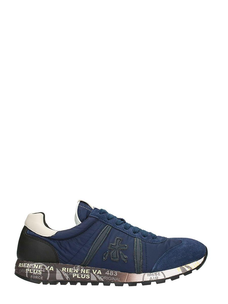 Premiata Lucy In Blue Suede And Fabric Sneakers