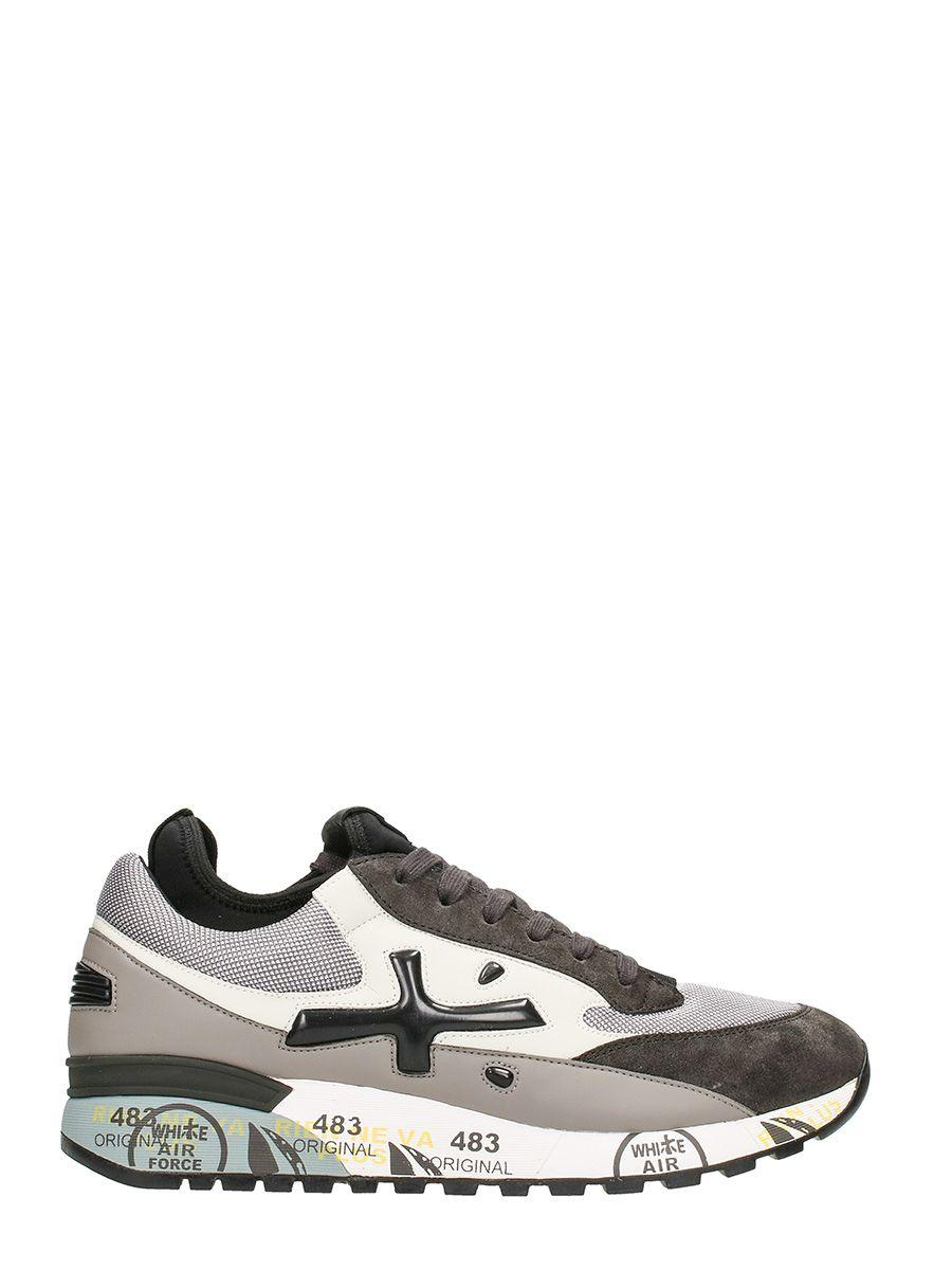 Premiata Nelson In Grey Suede And Leather Sneakers