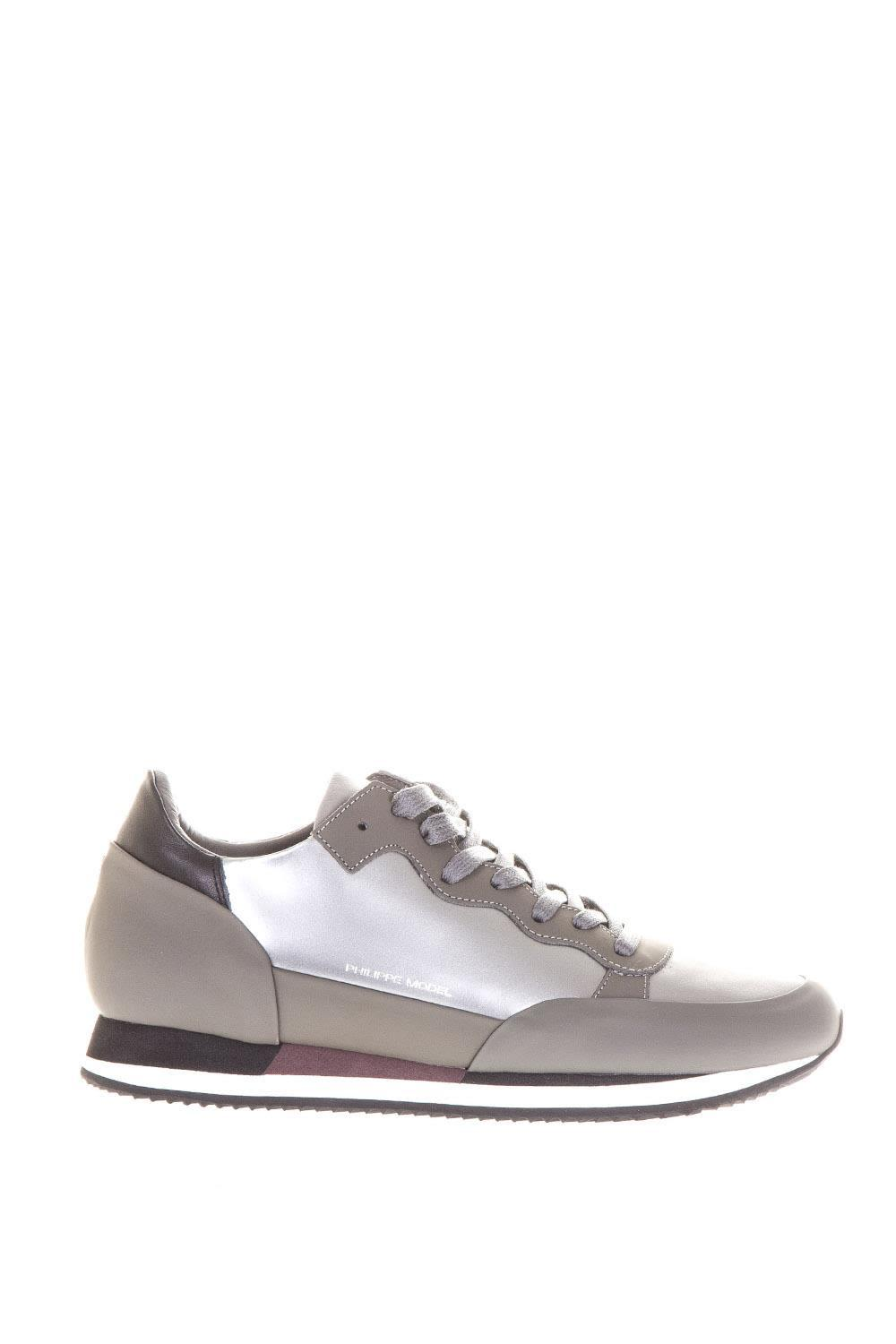 Philippe Model Leather Sneakers Paradis In Argent