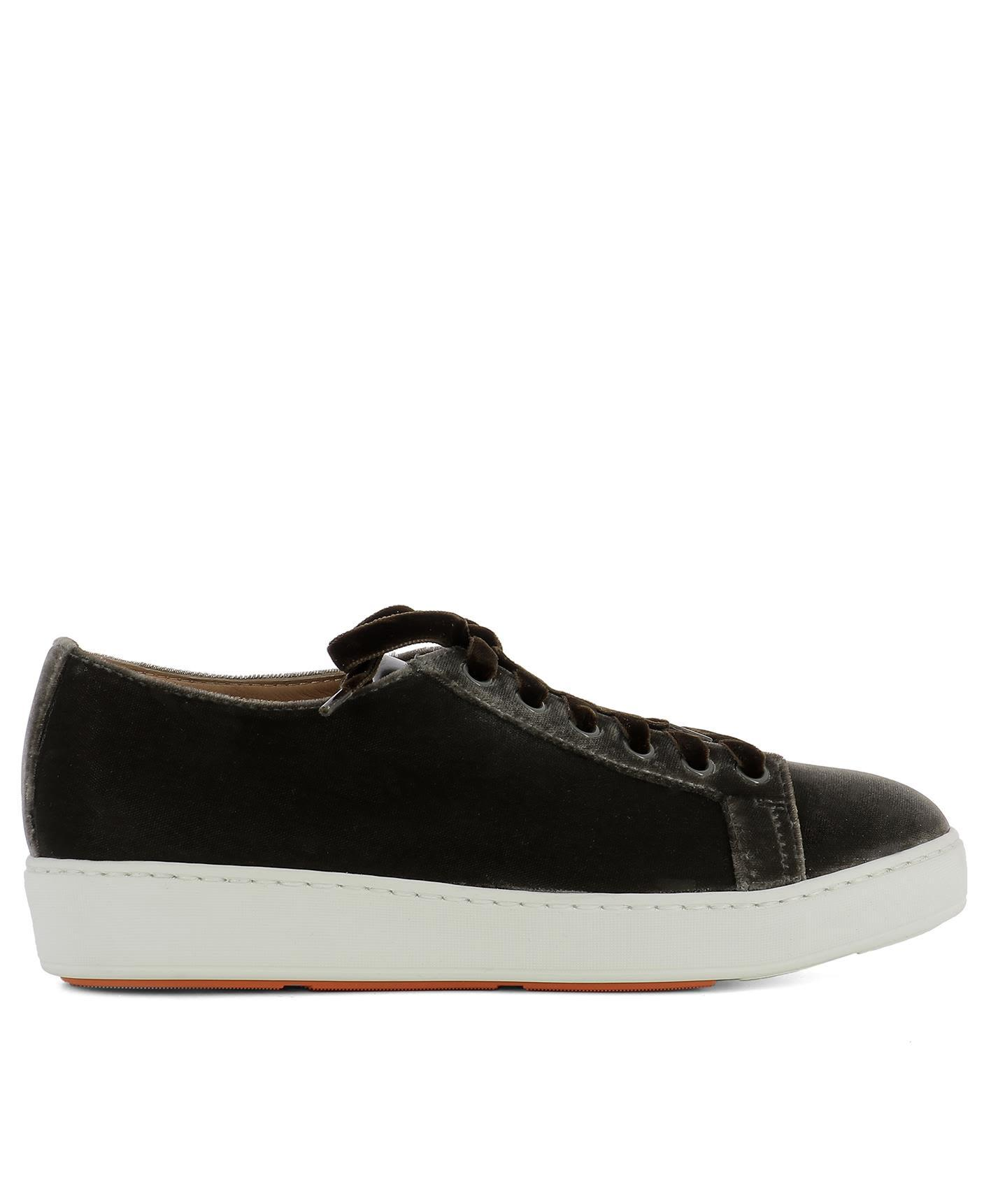 Santoni Brown Velvet Sneakers
