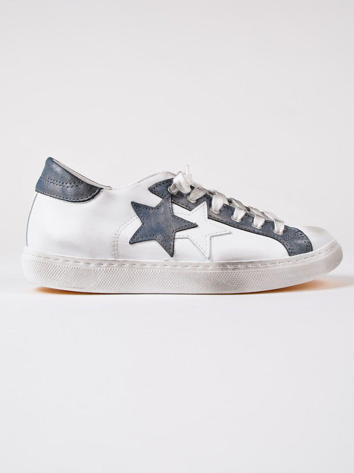 2star Star Patch Sneakers In White/avio