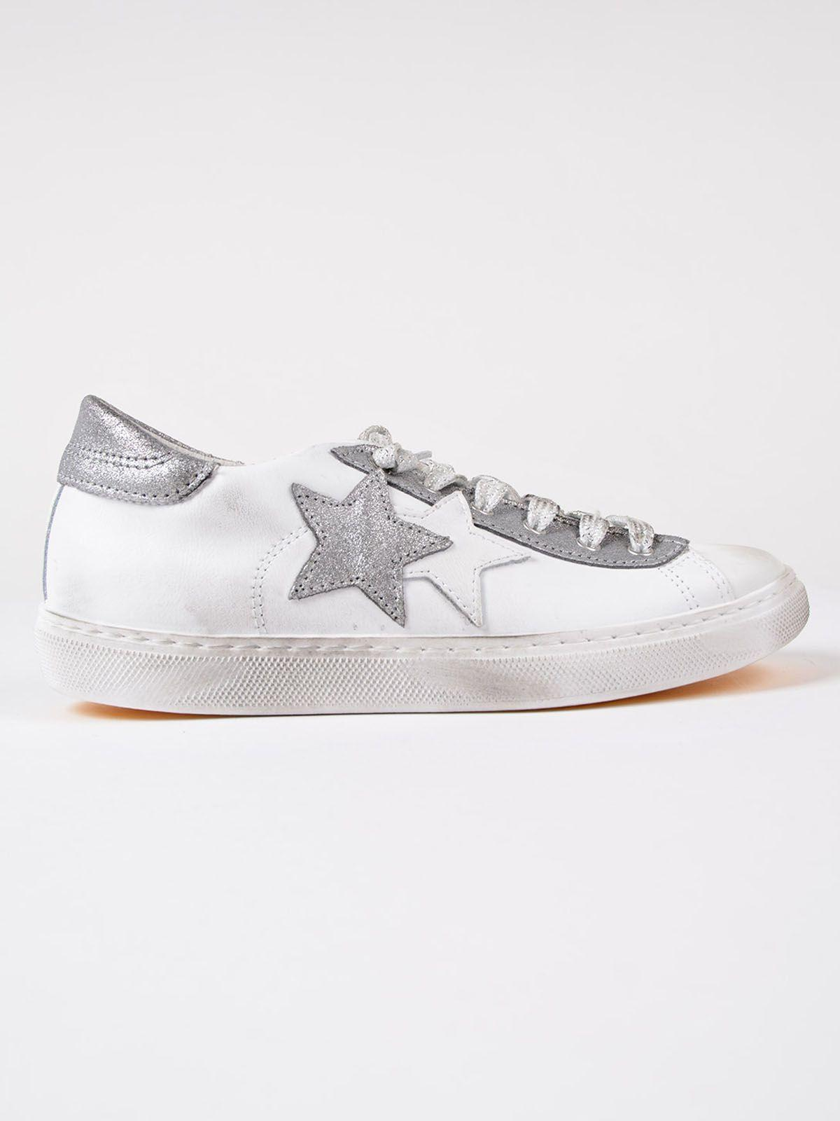 2star Star Patch Sneakers In White-silver