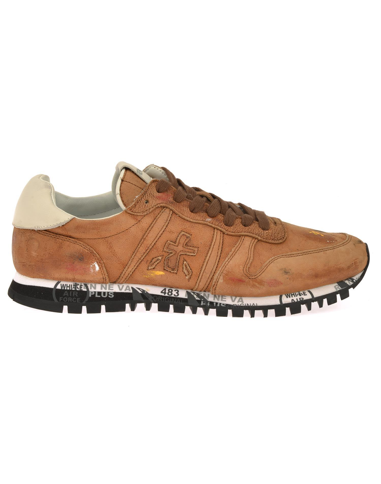 White Premiata Prince Sneaker In Brown