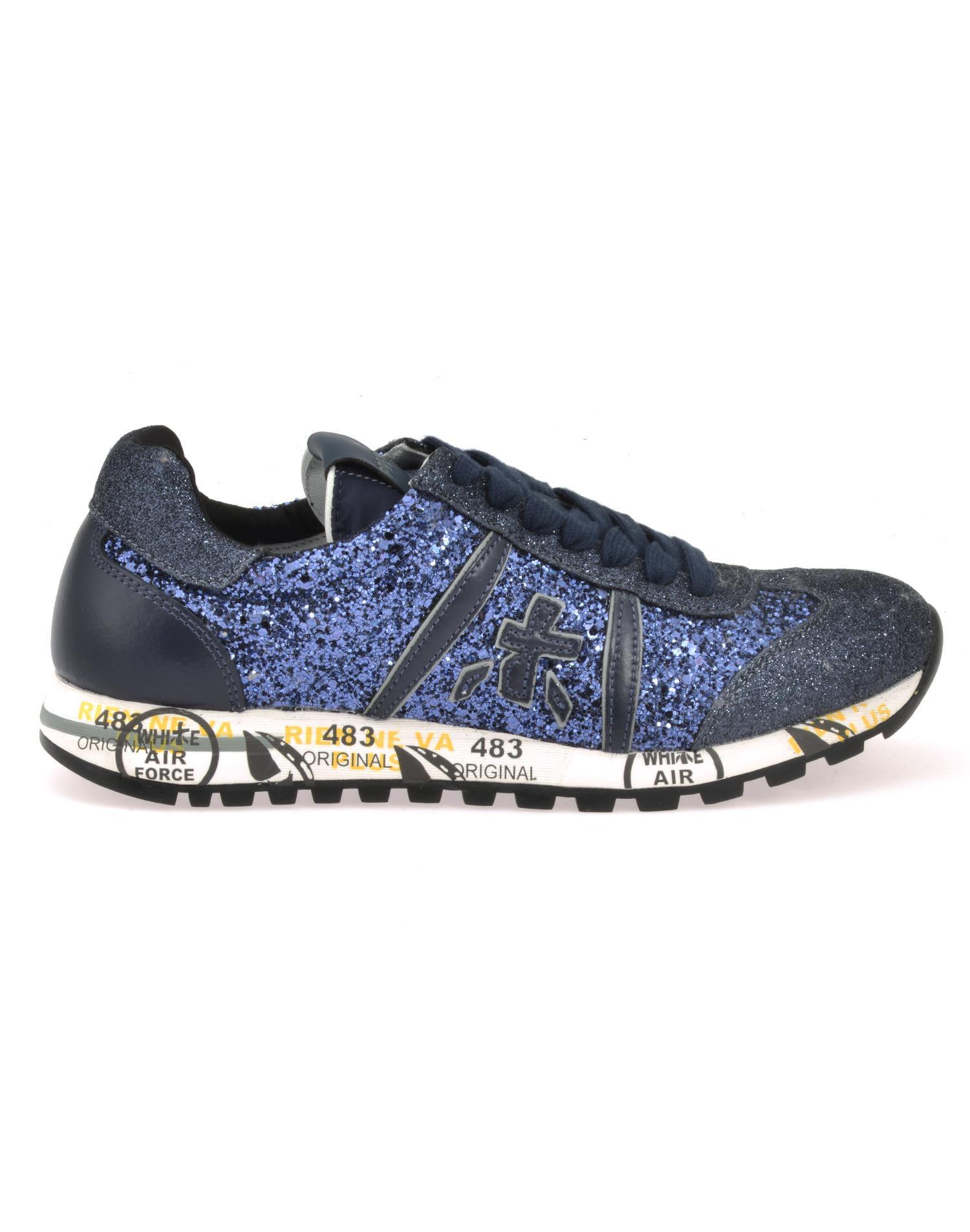 White Premiata Lucy D Sneaker In Blue