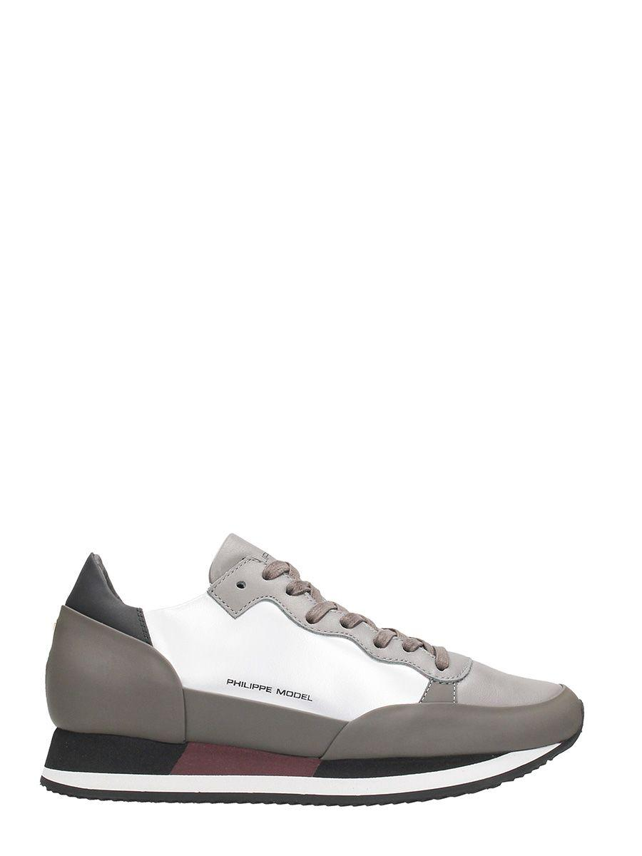 Philippe Model Paradis Beige Leather Sneakers In Silver