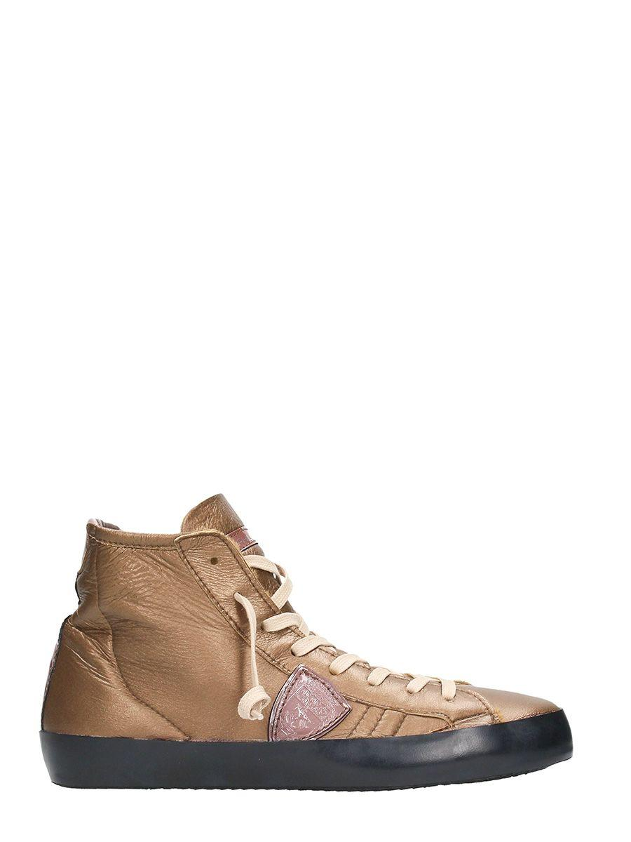Philippe Model Paris Bronze Leather High Sneakrs In Gold