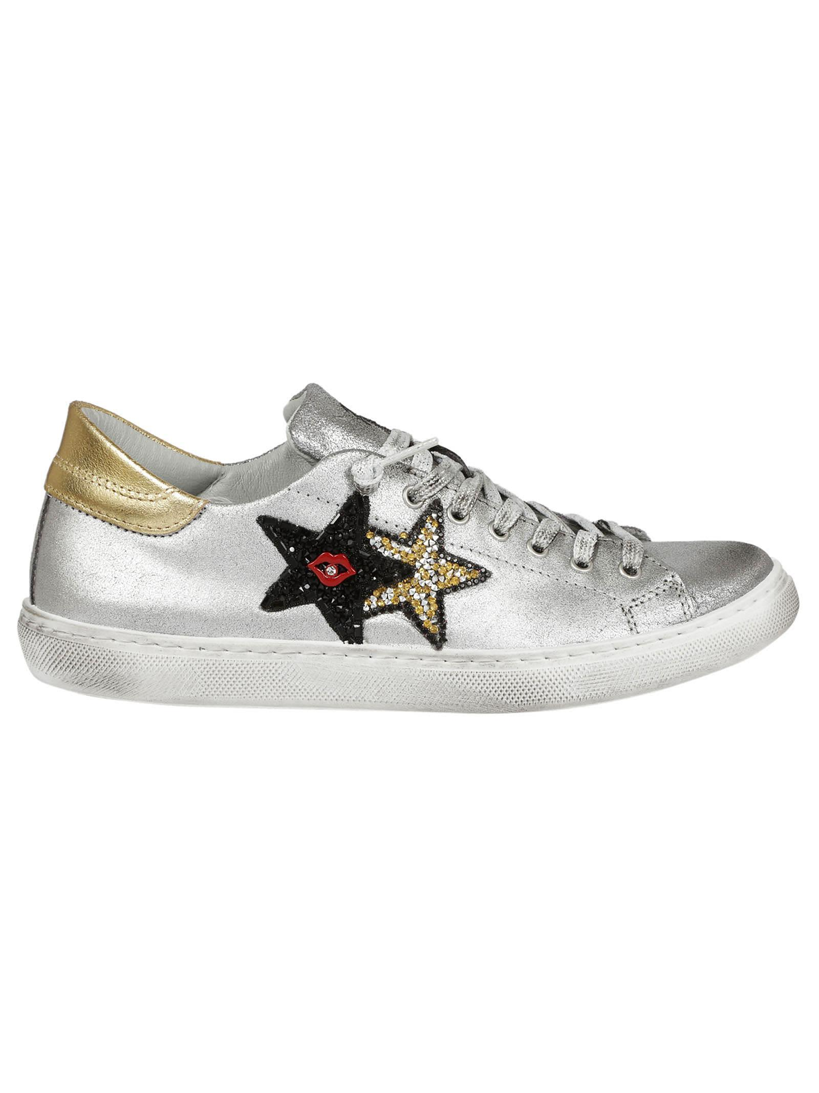 2star Embroidered Sneakers In Silver