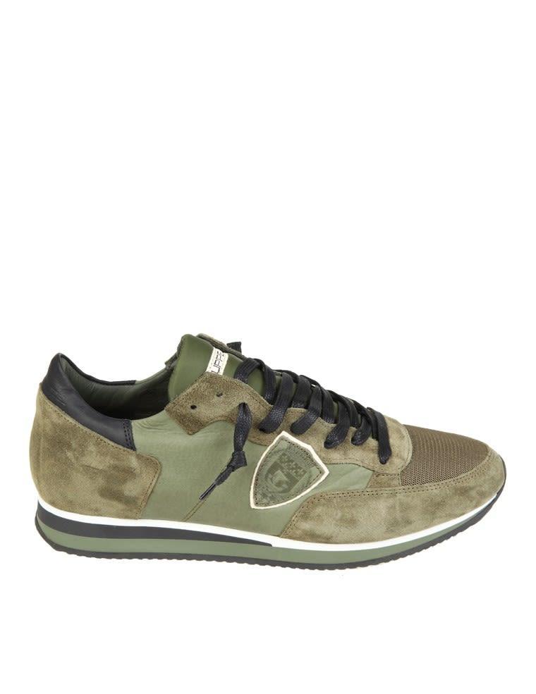 Philippe Model Sneakers Tropez Green Suede In Noir