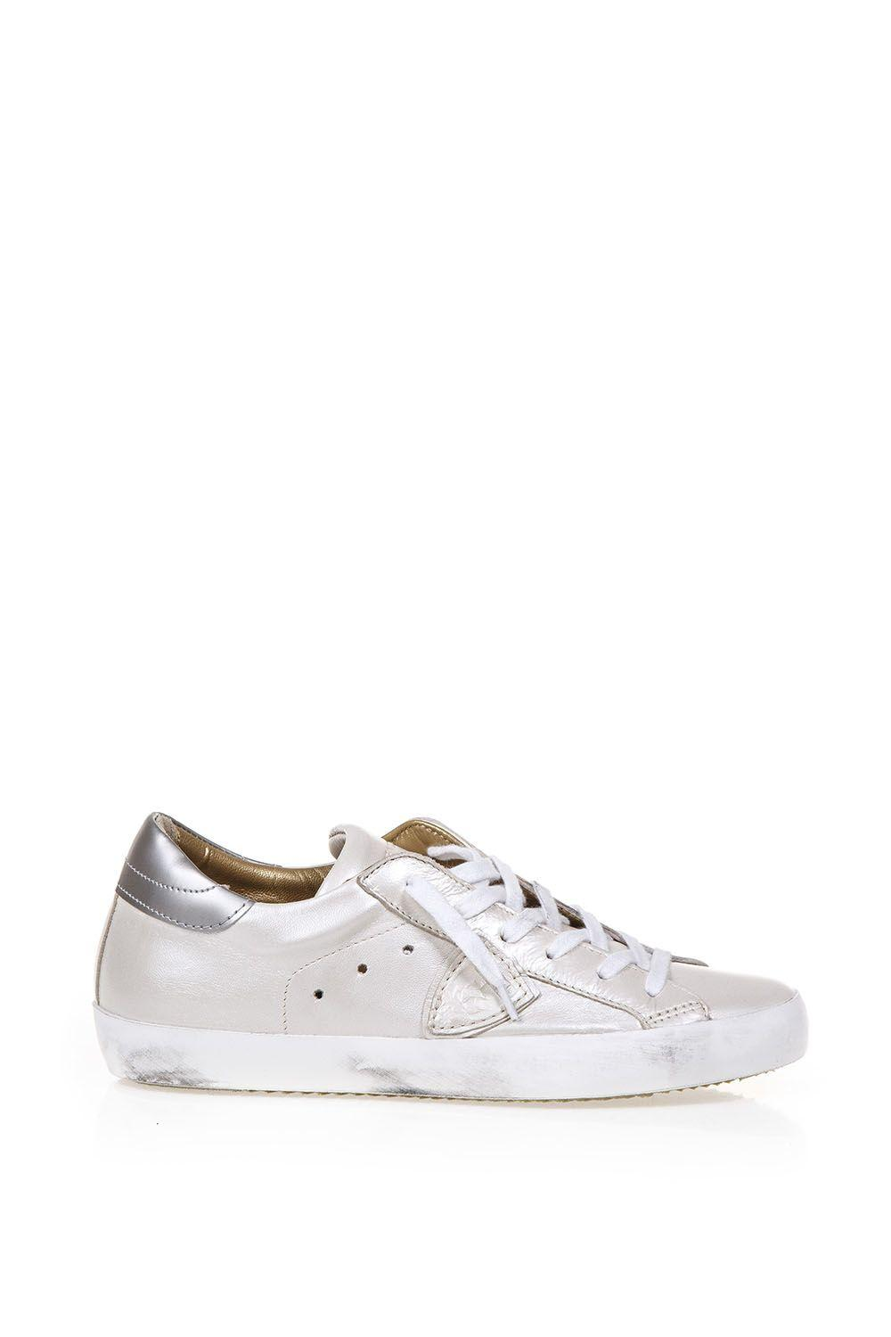 Philippe Model Sneakers Vintage Effect In White-platinum