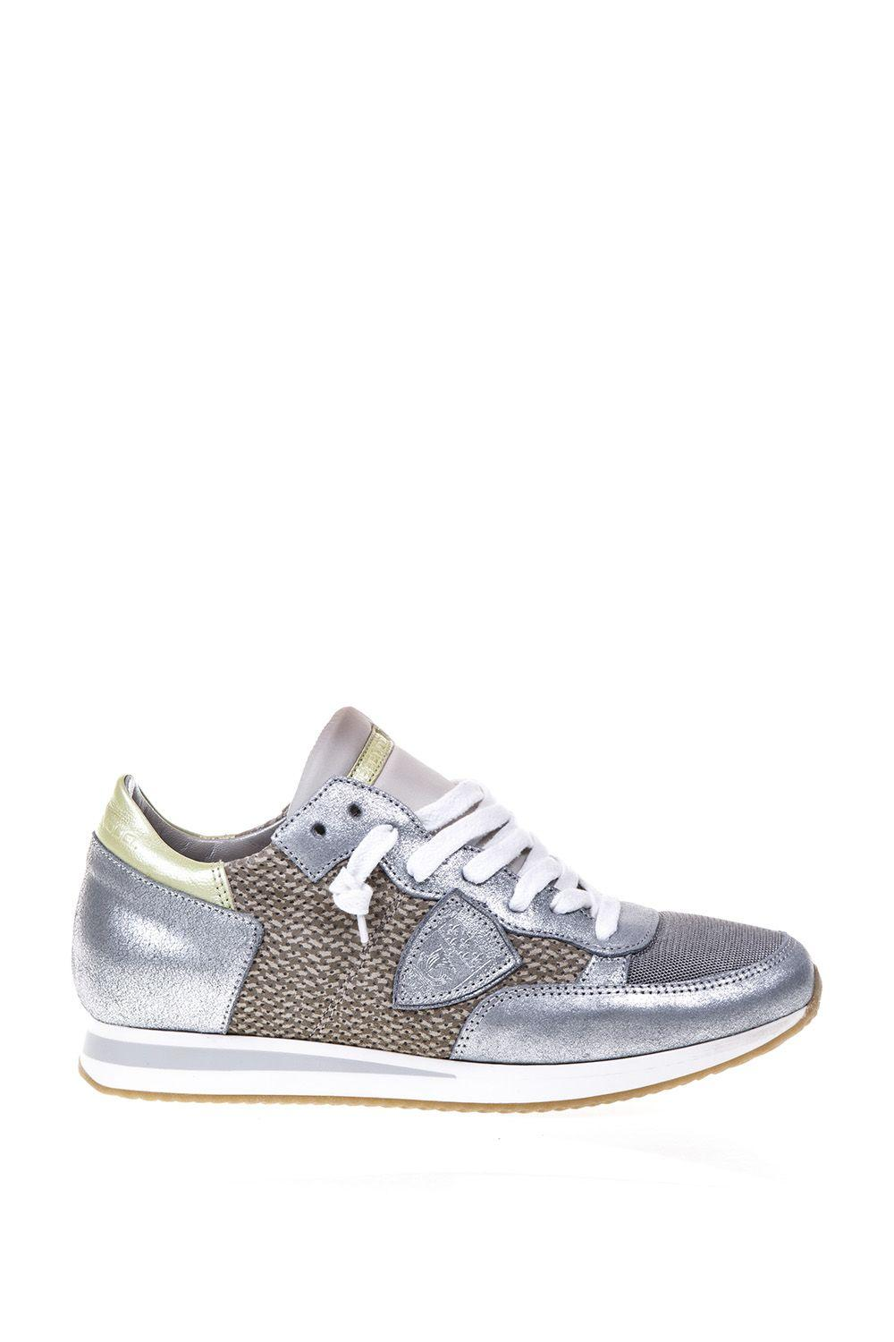 Philippe Model Nylon & Leather Sneakers In Sand-silver