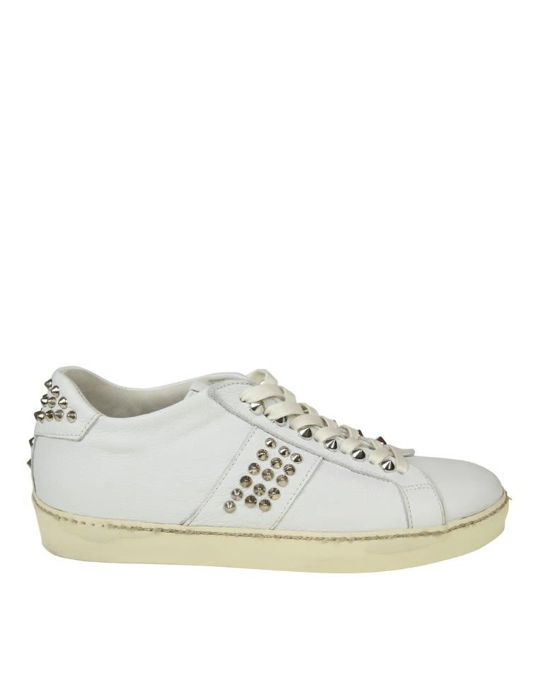 Leather Crown Leather Sneakers With Studs In White