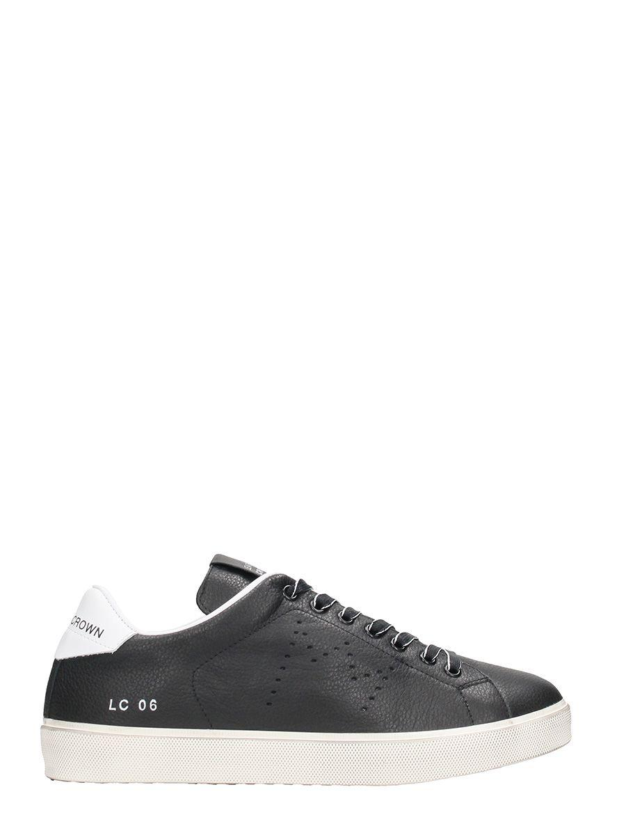 Leather Crown Lc06 Black Leather Low Sneakers