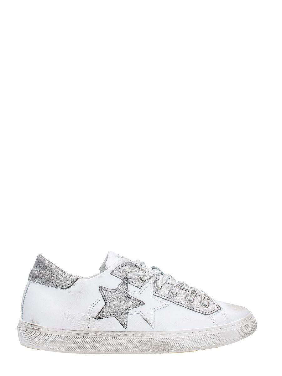 2star White And Silver Leather Sneakers