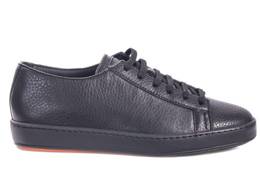 Santoni Sneaker Low In High-quality Leather In Black