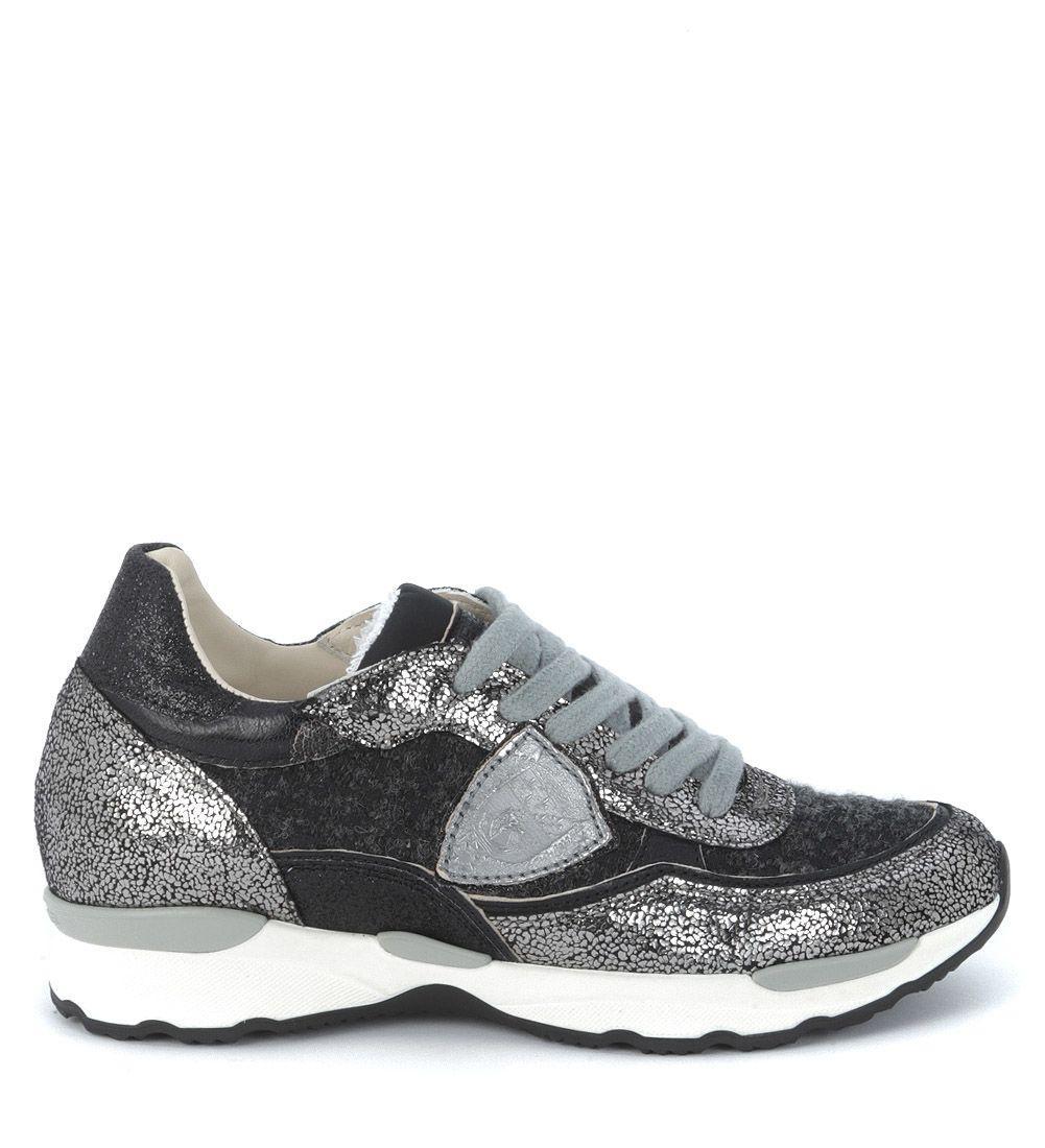 Philippe Model City Flat Sneaker In Grey Metal And Black Tweed In Grigio