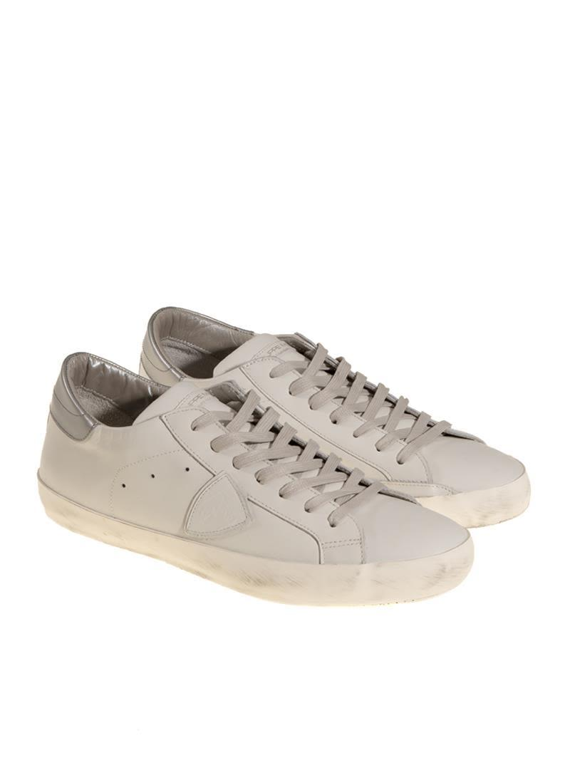 Philippe Model Leather Sneakers In White - Silver