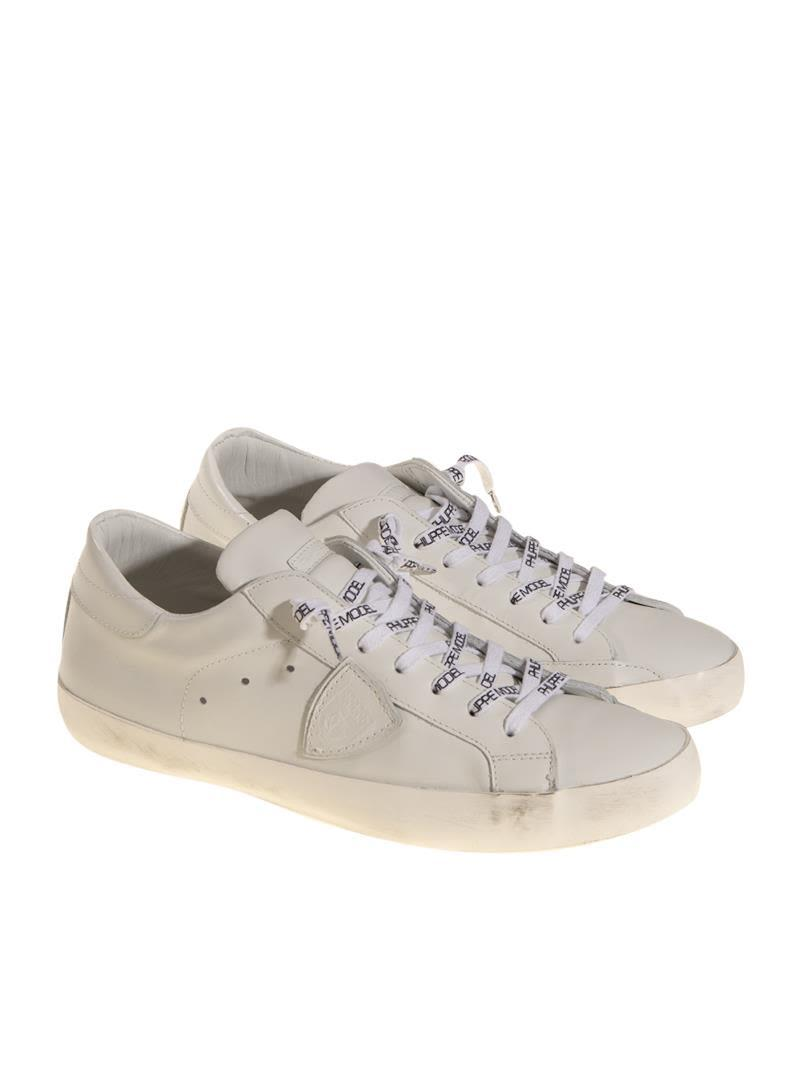 Philippe Model Leather Sneakers In White