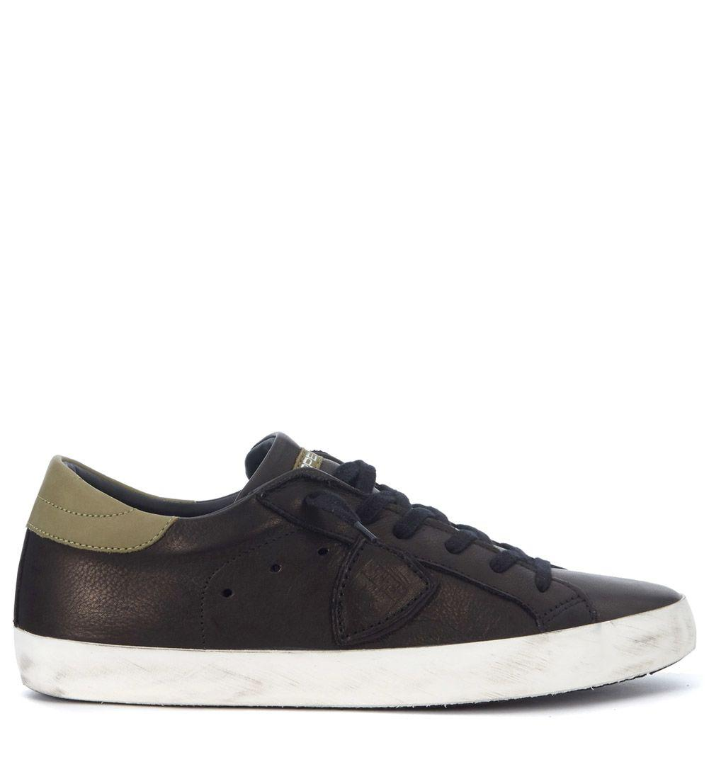 Philippe Model Paris Black And Green Leather Sneakers In Bianco