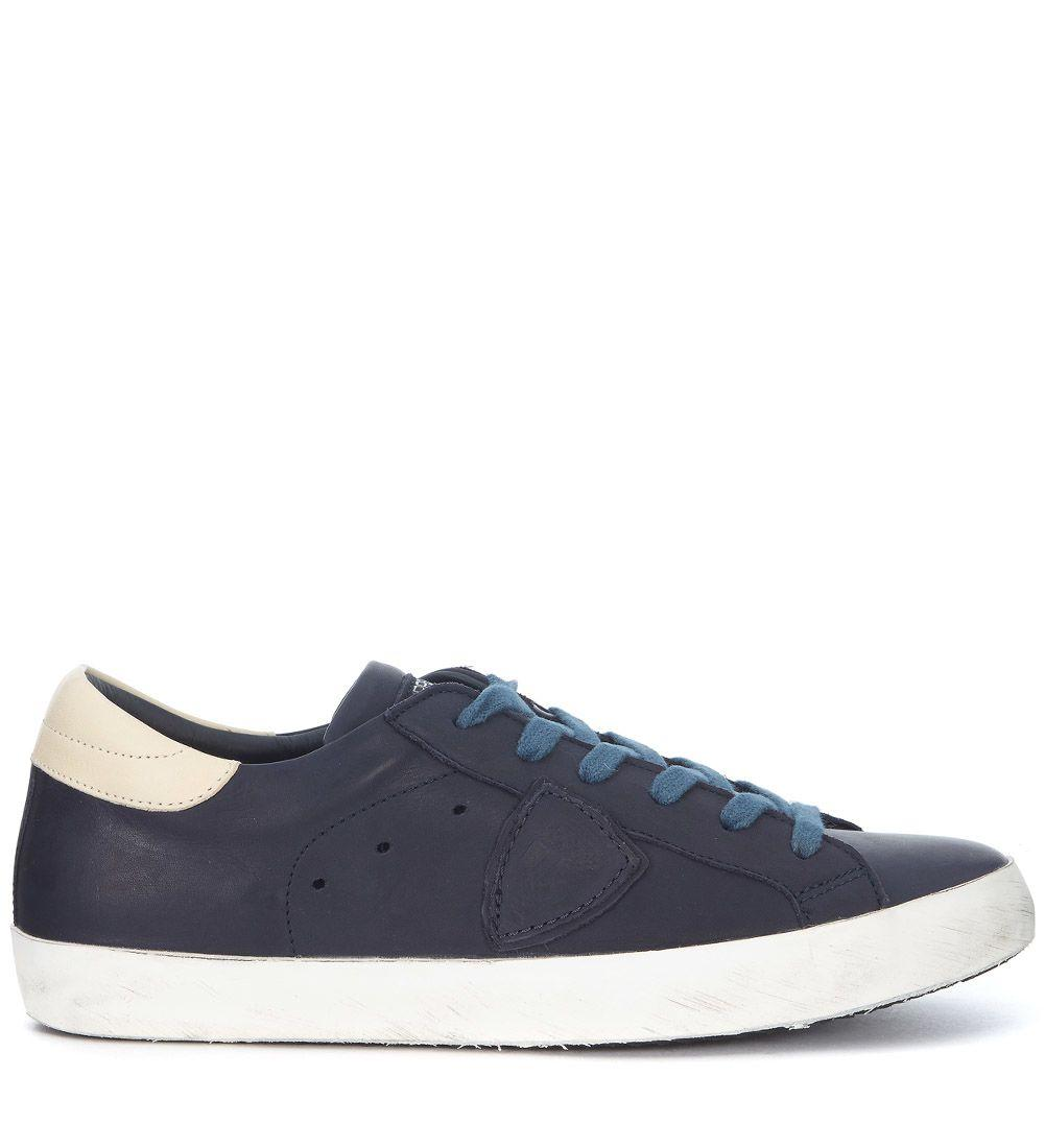 Philippe Model Paris Blue And Ivory Leather Sneaker