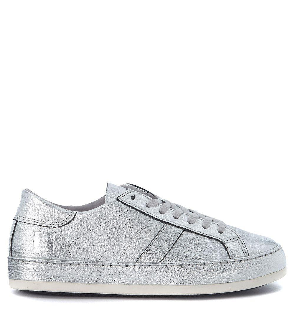 D.a.t.e. Sneaker  Cover Silver Laminated Leather In Argento