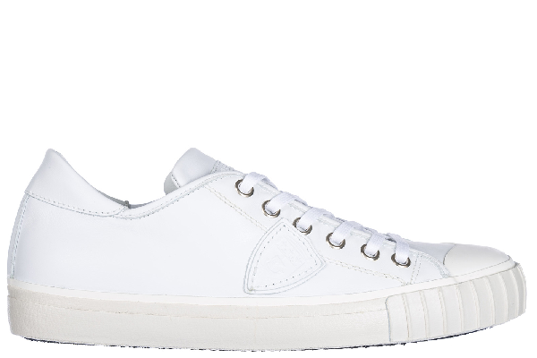 Philippe Model Men's Shoes Leather Trainers Sneakers Gare In White