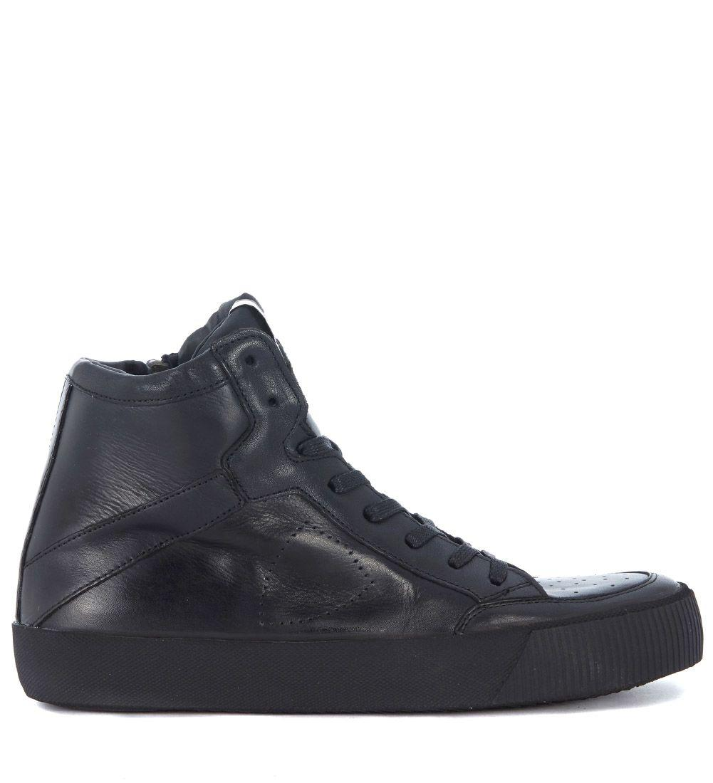Philippe Model Knicks Black Leather Sneaker With Zip In Nero
