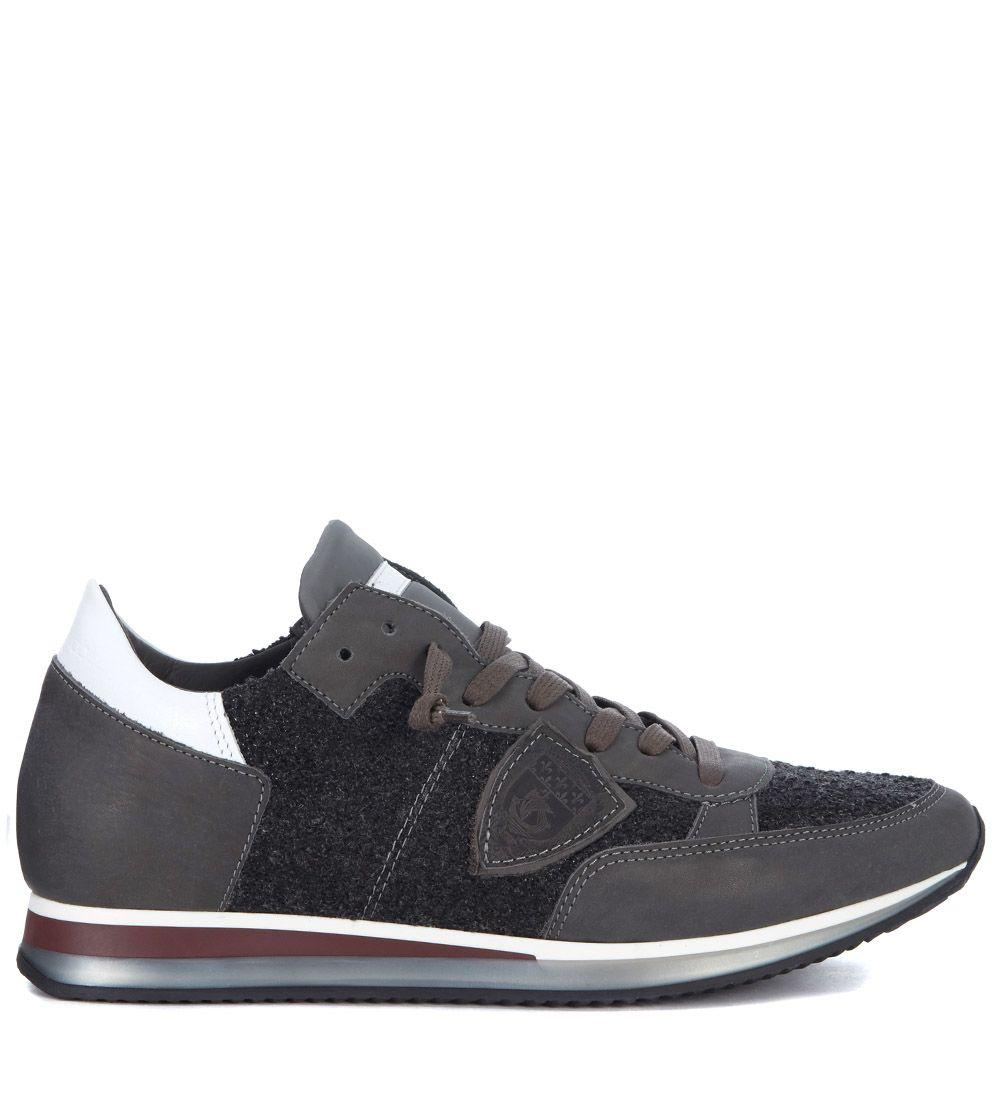 Philippe Model Tropez Sneaker In Grey And BouclÈ Leather In Grigio