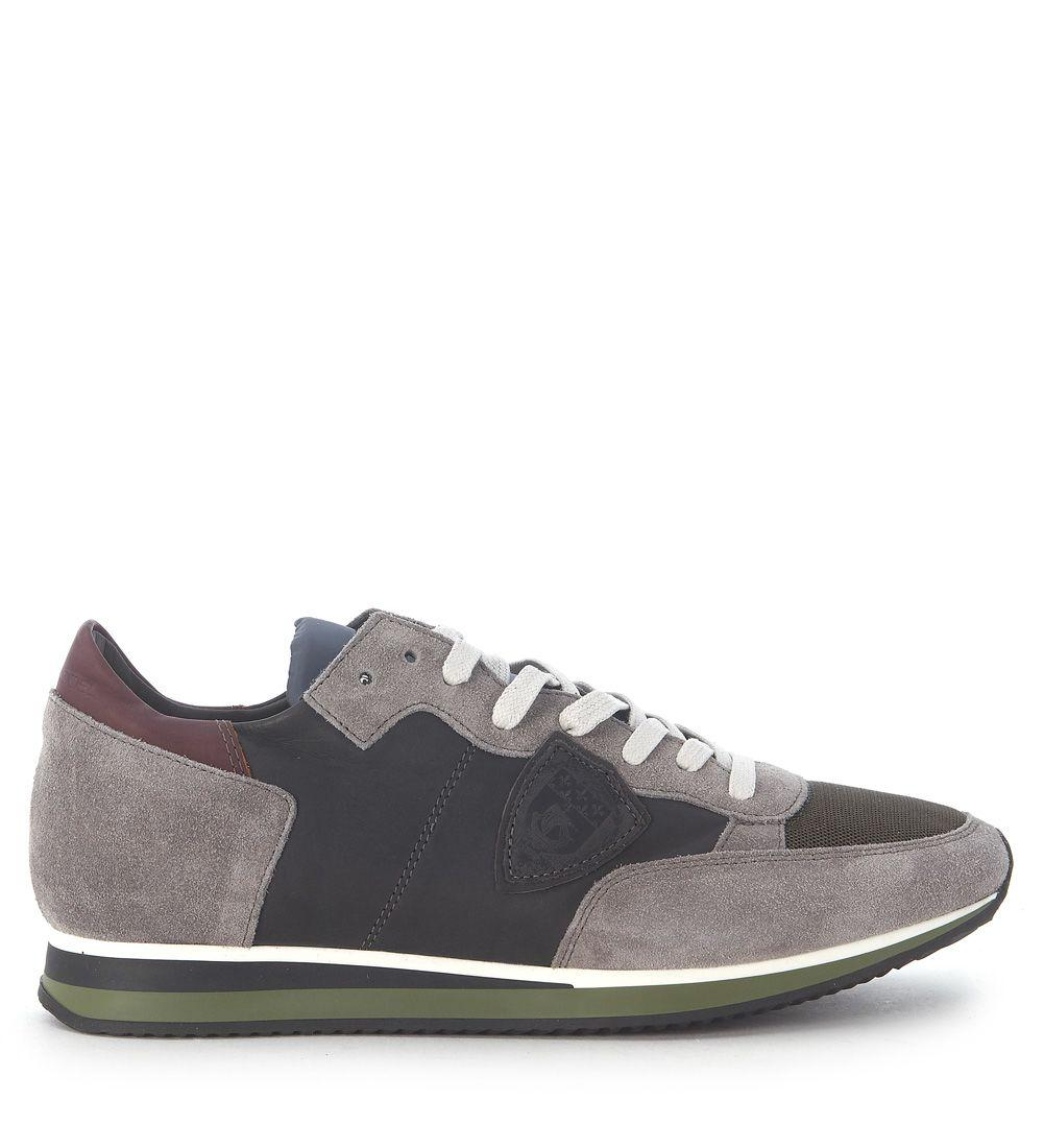 Philippe Model Sneaker  Tropez In Grey Suede And Leather In Grigio