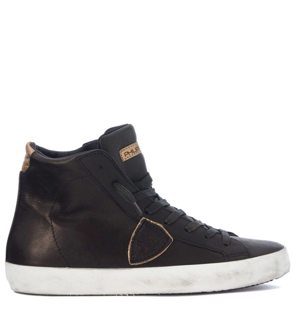 Philippe Model Paris Bronze And Gold Leather Sneaker In Nero