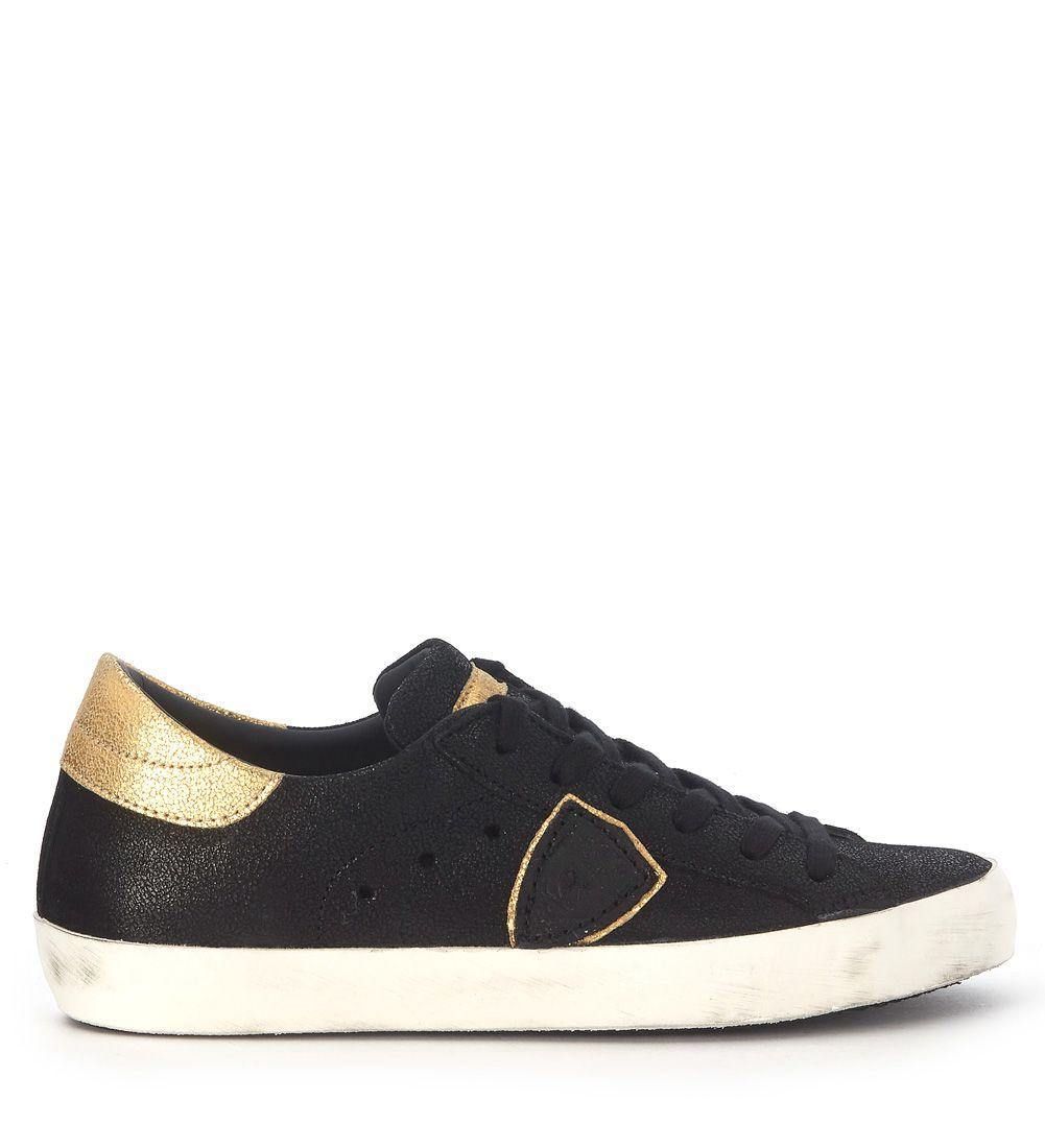 Philippe Model Sneakers  Paris In Golden And Black Leather In Nero