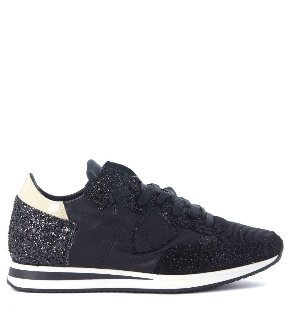 Philippe Model Tropez Black Leather Sneaker With Glitter In Nero
