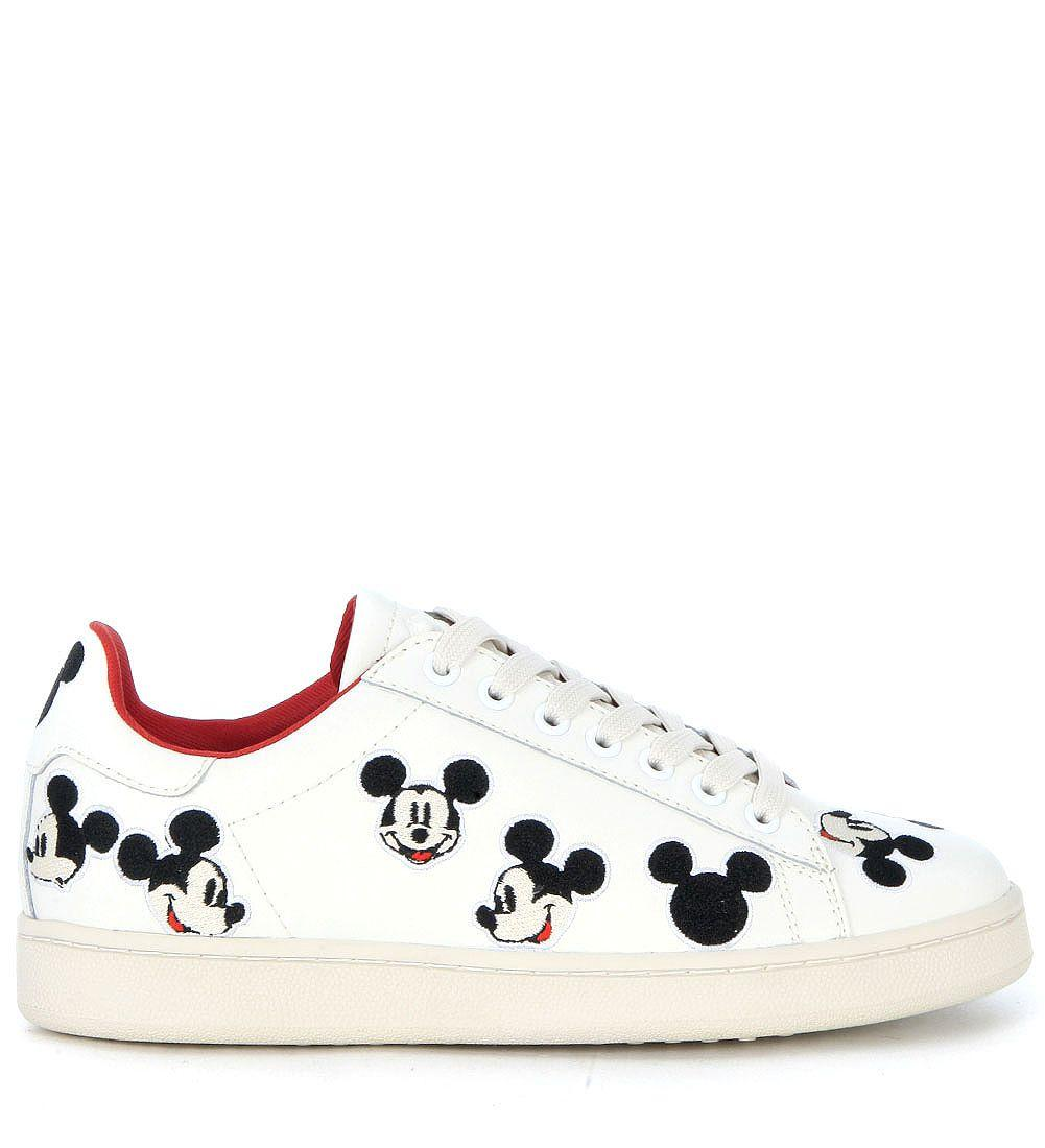 M.o.a. Moa Mickey Mouse White Leather Sneaker In Bianco