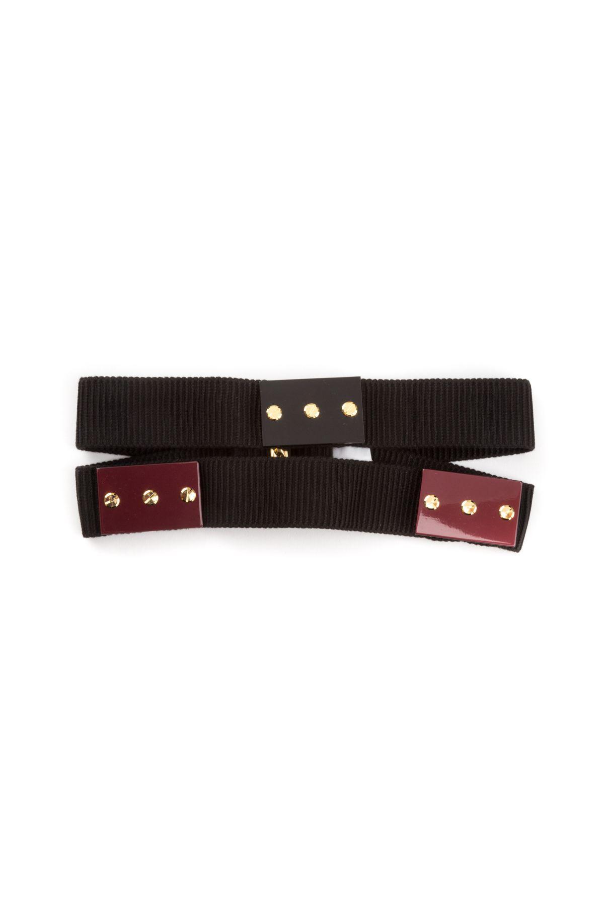 Paolo Errico Elastic Belt In Black-bordeauxnero