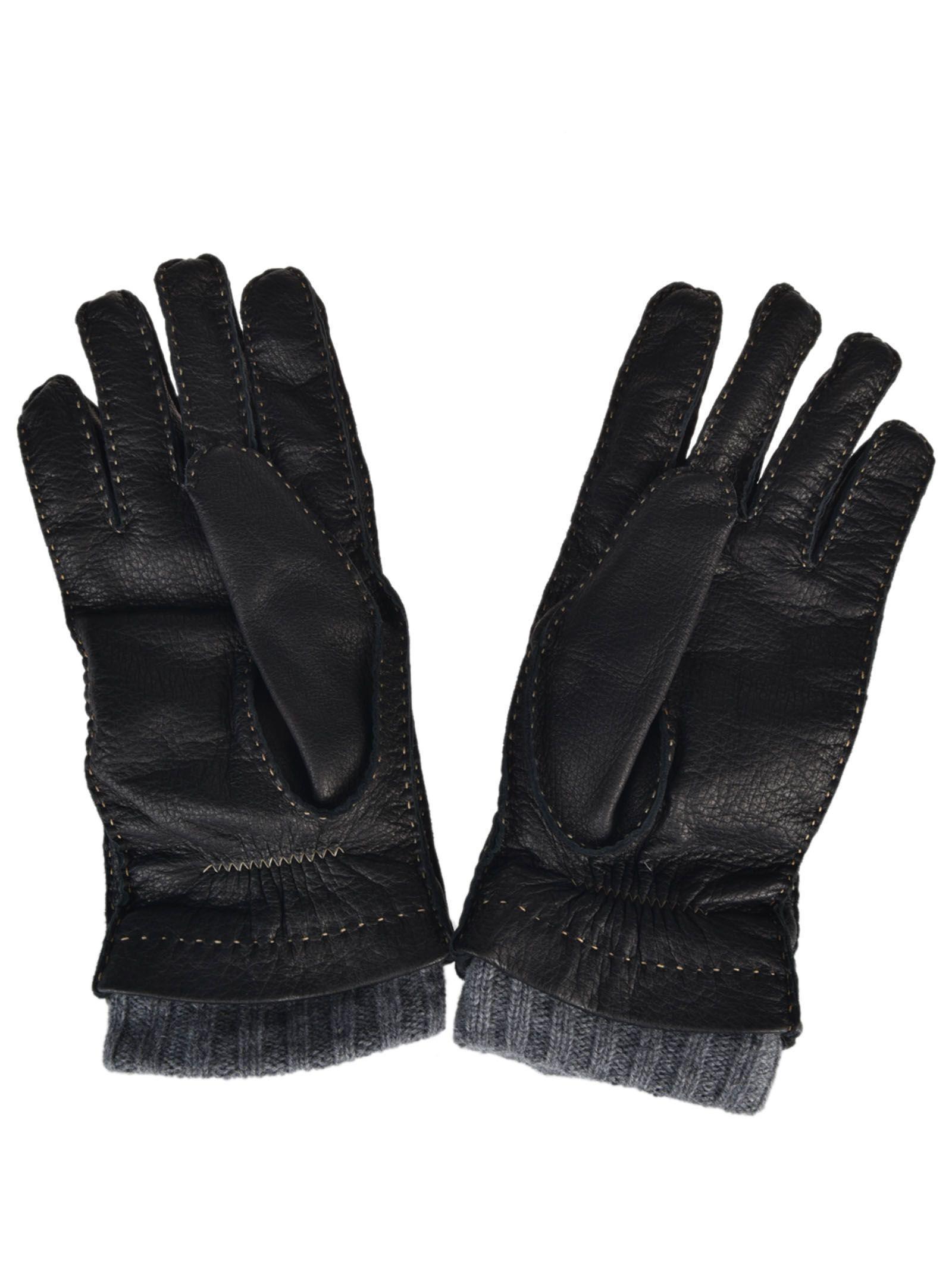 Fedeli Deer Cashmere Gloves In Black